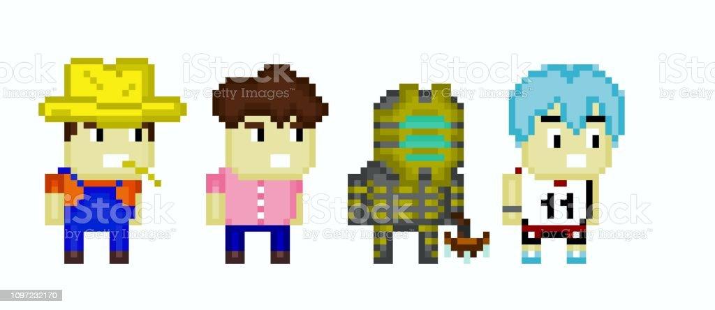 Peuples De Pixel Art Vecteurs Libres De Droits Et Plus D