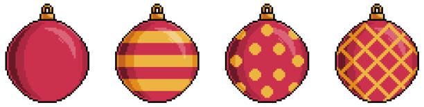 Pixel art red christmas balls item 8bit white background Pixel art Christmas ornaments pedreiro stock illustrations