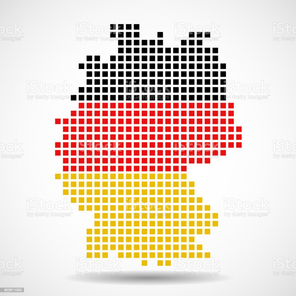 Pixel Map Of Germany With The Flag Inside Stock Vector Art - Germany map vector
