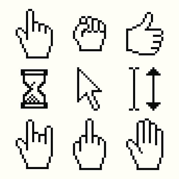 stockillustraties, clipart, cartoons en iconen met pixelated cursors - swearing