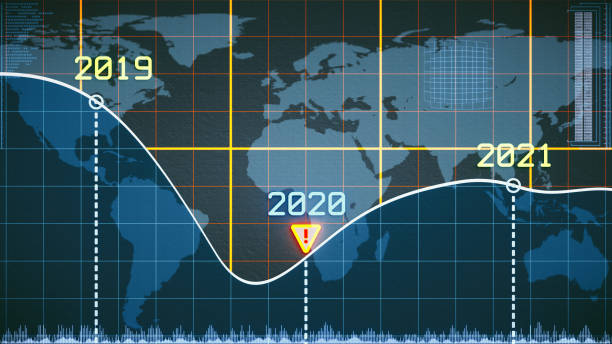 Pixelated line graph design focusing on financial and economic development around the year 2020 with abstract infographics and world map background vector art illustration