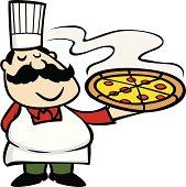 italian chef holding a pizza