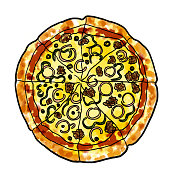 pizza mexican with onion, pepper, olives and minced meat cartoon illustration web banner icon