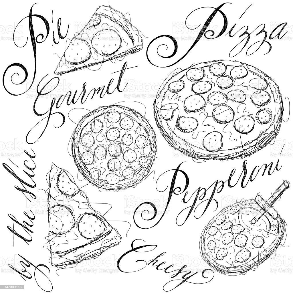 pizza sketches royalty-free stock vector art