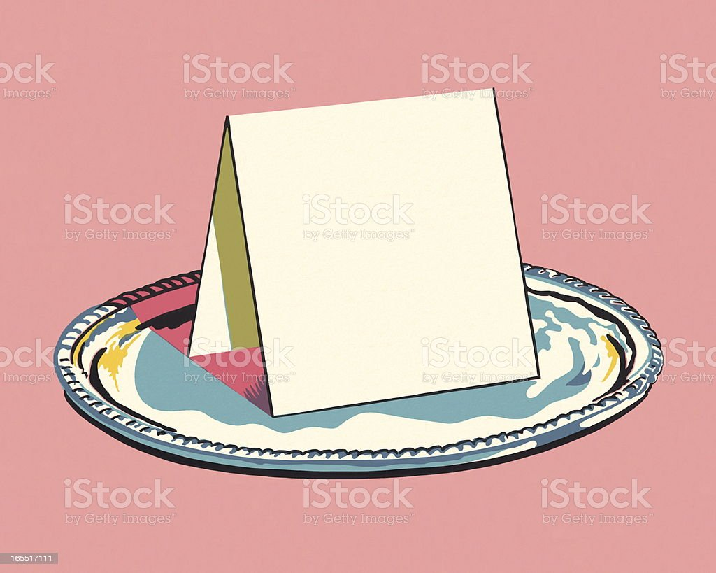 Place Card on a Tray royalty-free place card on a tray stock vector art & more images of color image
