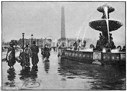 Place de la Concorde by Giuseppe De Nittis (circa 19th century). Vintage etching circa late 19th century.