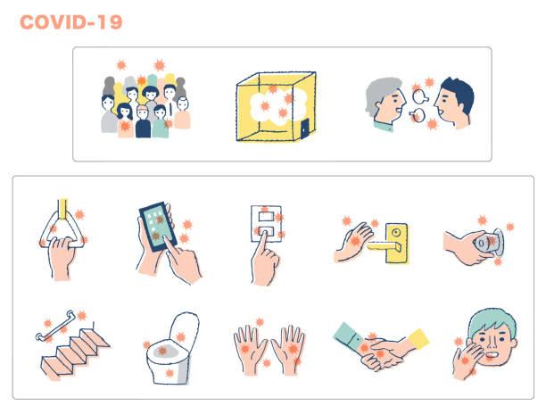 illustrazioni stock, clip art, cartoni animati e icone di tendenza di places and things at high risk of infection - near