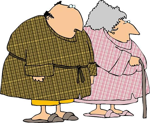 plaid bathrobes - old man slippers stock illustrations, clip art, cartoons, & icons
