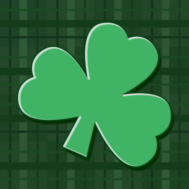 plaid square st patricks day holiday icon avatar sign symbol with green shamrock clover vector art illustration