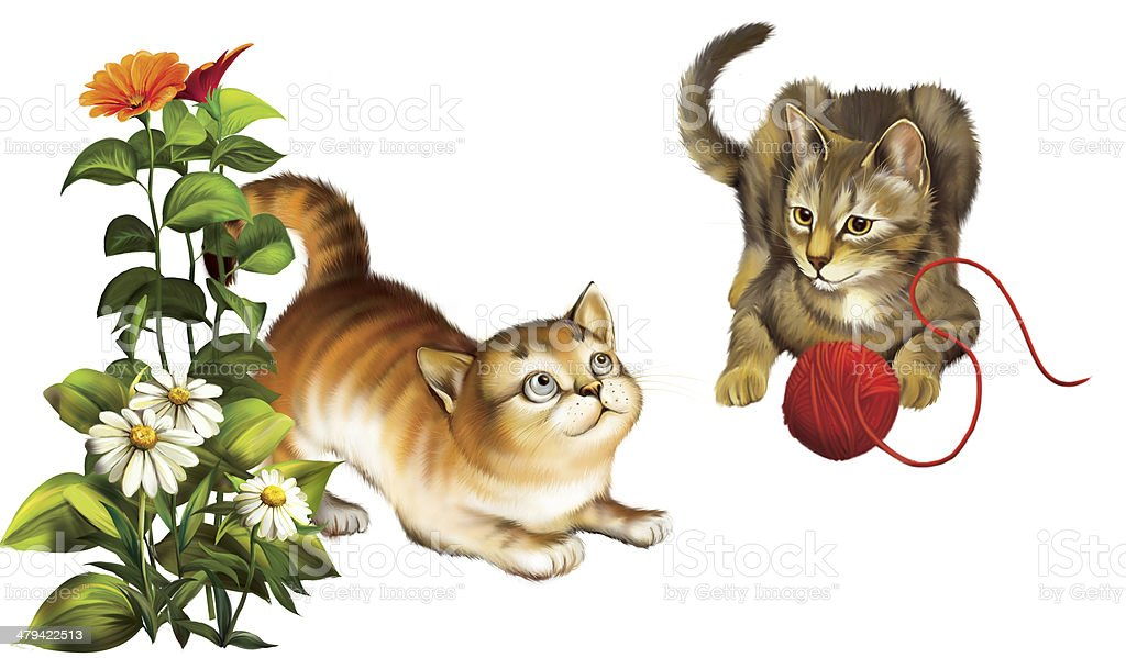 Plaing Kittens vector art illustration