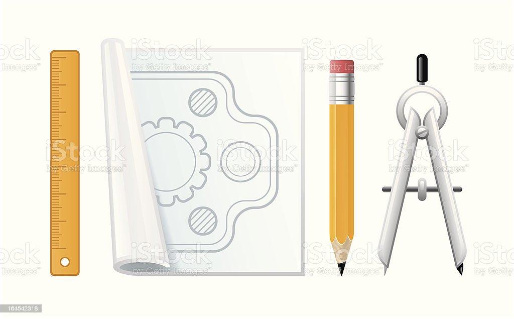 Plan drawing tools royalty-free stock vector art