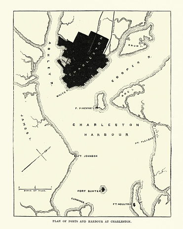 Plan of Forts and Harbour at Charlestown, 1860s