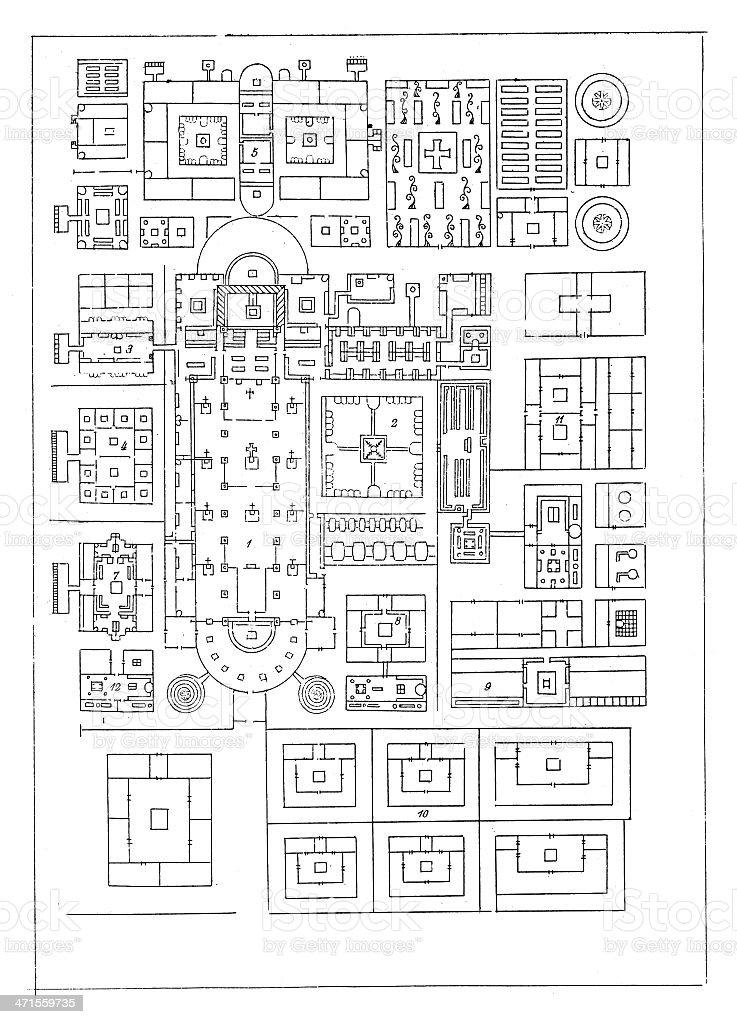 Plan of 'Saint Gallen' monastery, Switzerland royalty-free stock vector art