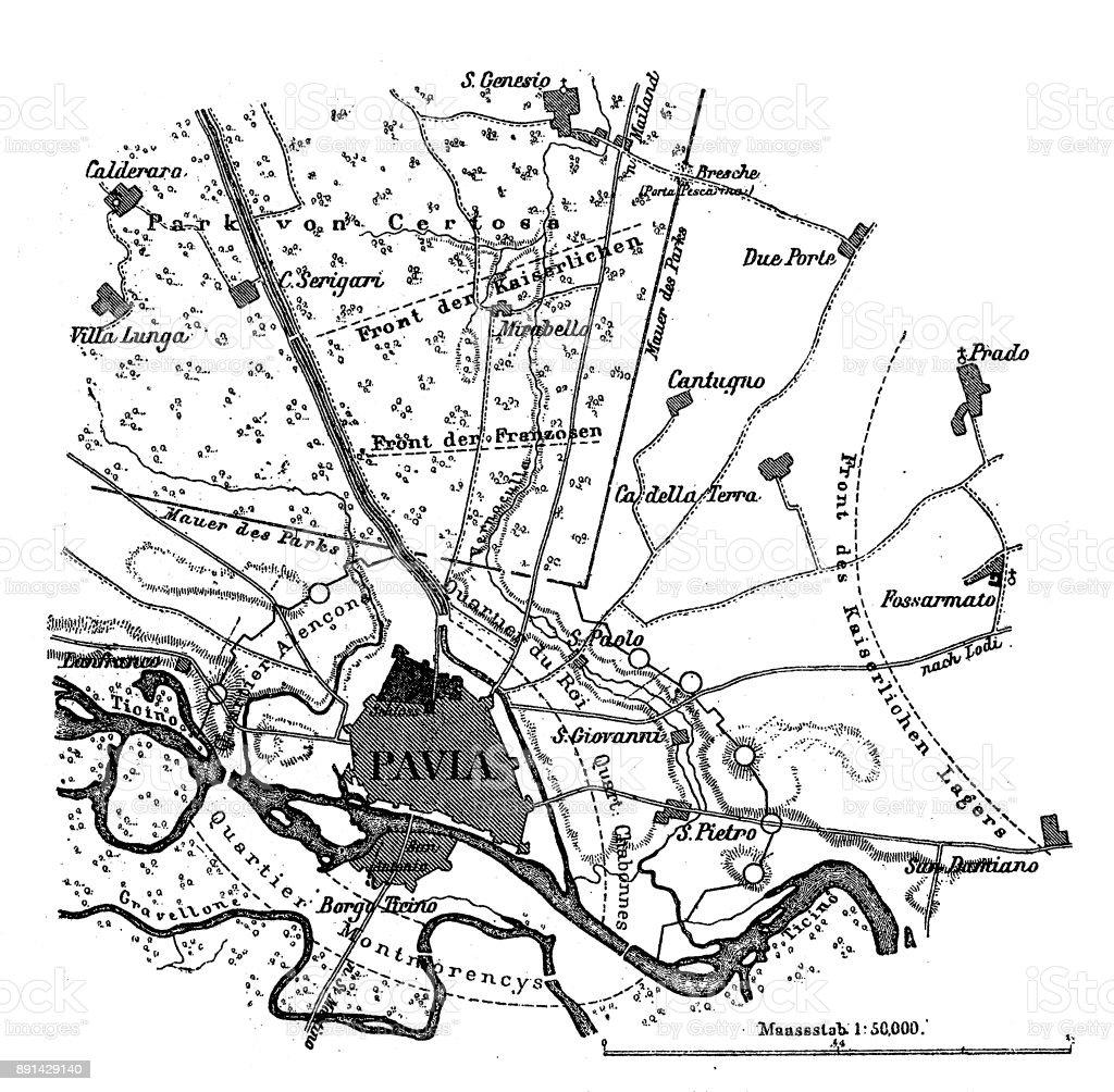 Plan of the Battle of Pavia vector art illustration