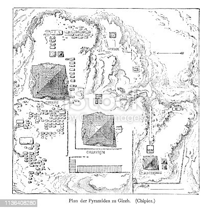Woodcut of the plan of the pyramids at Giza, Egypt.