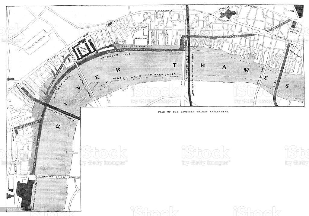 Plan of the Thames Embankment vector art illustration