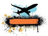 colorfull plane silhouette banner
