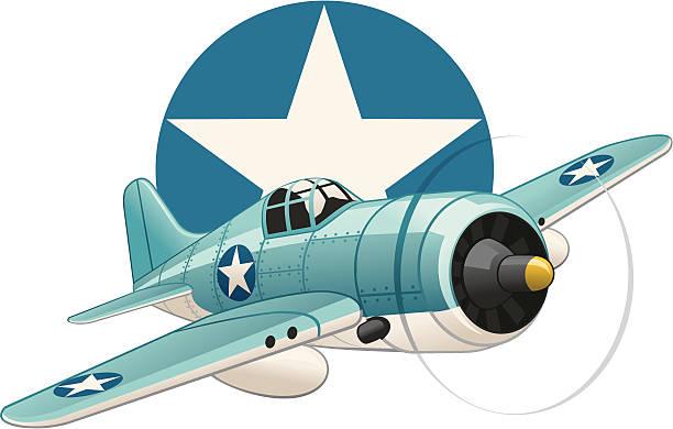 u.s. ww2 plane on air force insignia background - world war ii stock illustrations, clip art, cartoons, & icons