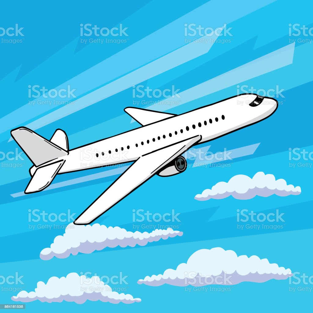 Plane takes off pop art style. Floating in clouds airplane vector illustration in comic style royalty-free plane takes off pop art style floating in clouds airplane vector illustration in comic style stock vector art & more images of airplane