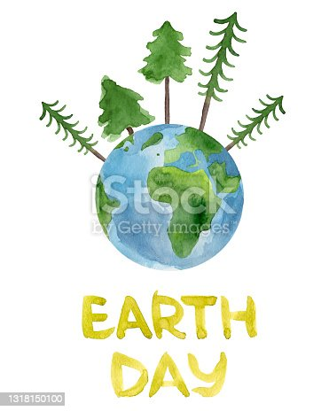 istock Planet earth watercolor with fir trees and hand lettering earth day. 1318150100