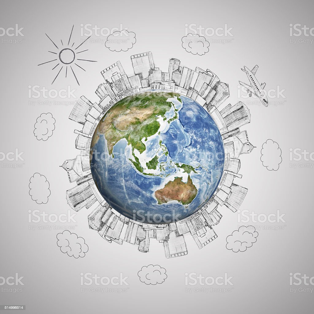Planet earth with pencil sketch megalopolis and plane on grey vector art illustration