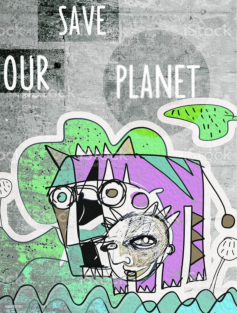 Planeta fundo de graffiti - ilustração de arte em vetor