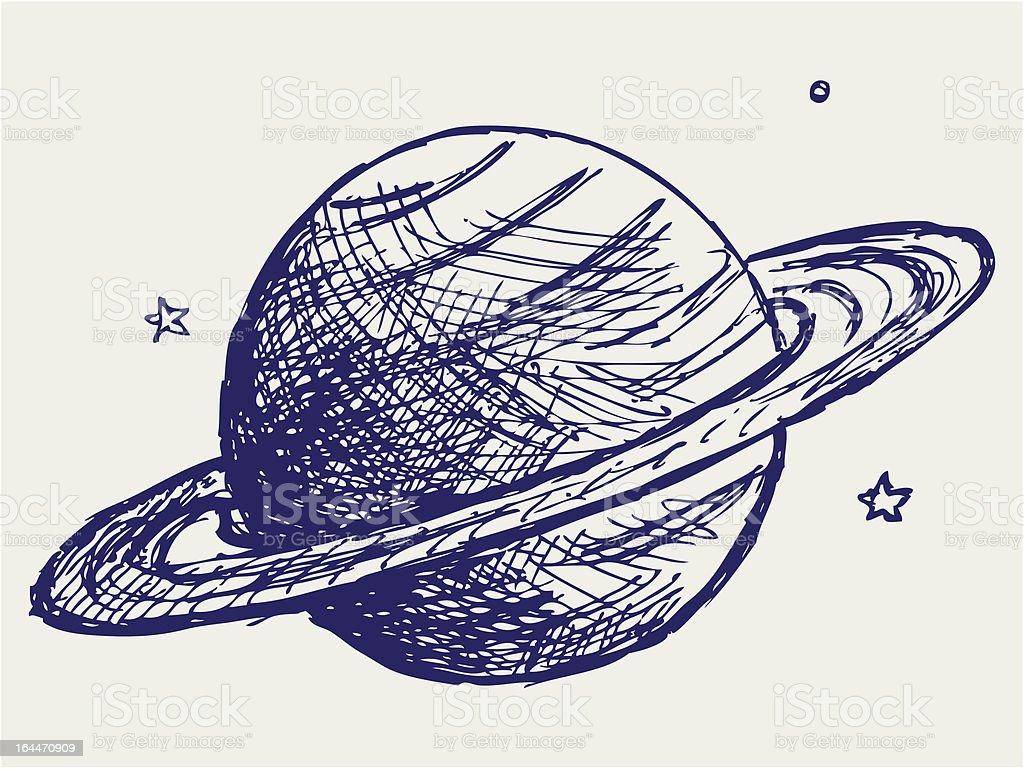 Planet Saturn vector art illustration