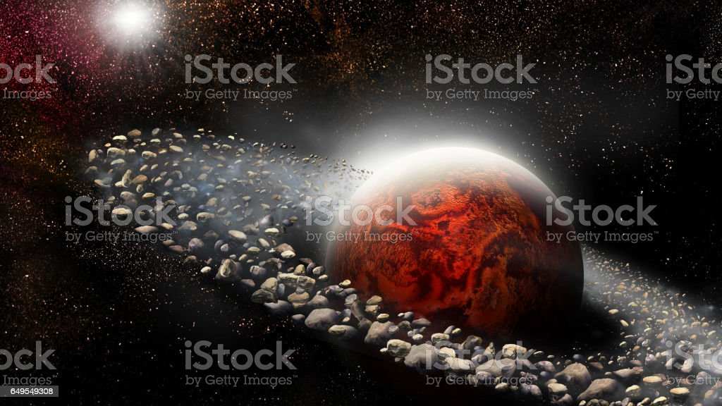 Planet with ring of asteroids vector art illustration