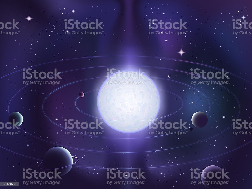 Planets orbiting around a bright white star royalty-free stock vector art