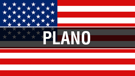 """Plano city on a USA flag background, 3D rendering. United states of America flag waving in the wind. Proud American Flag Waving, US Plano city concept. US American symbol and Plano background""""n"""