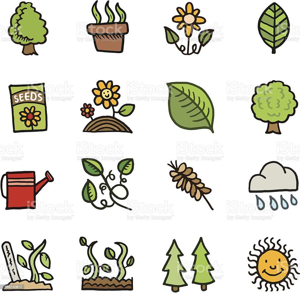 Plant and gardening doodles vector art illustration