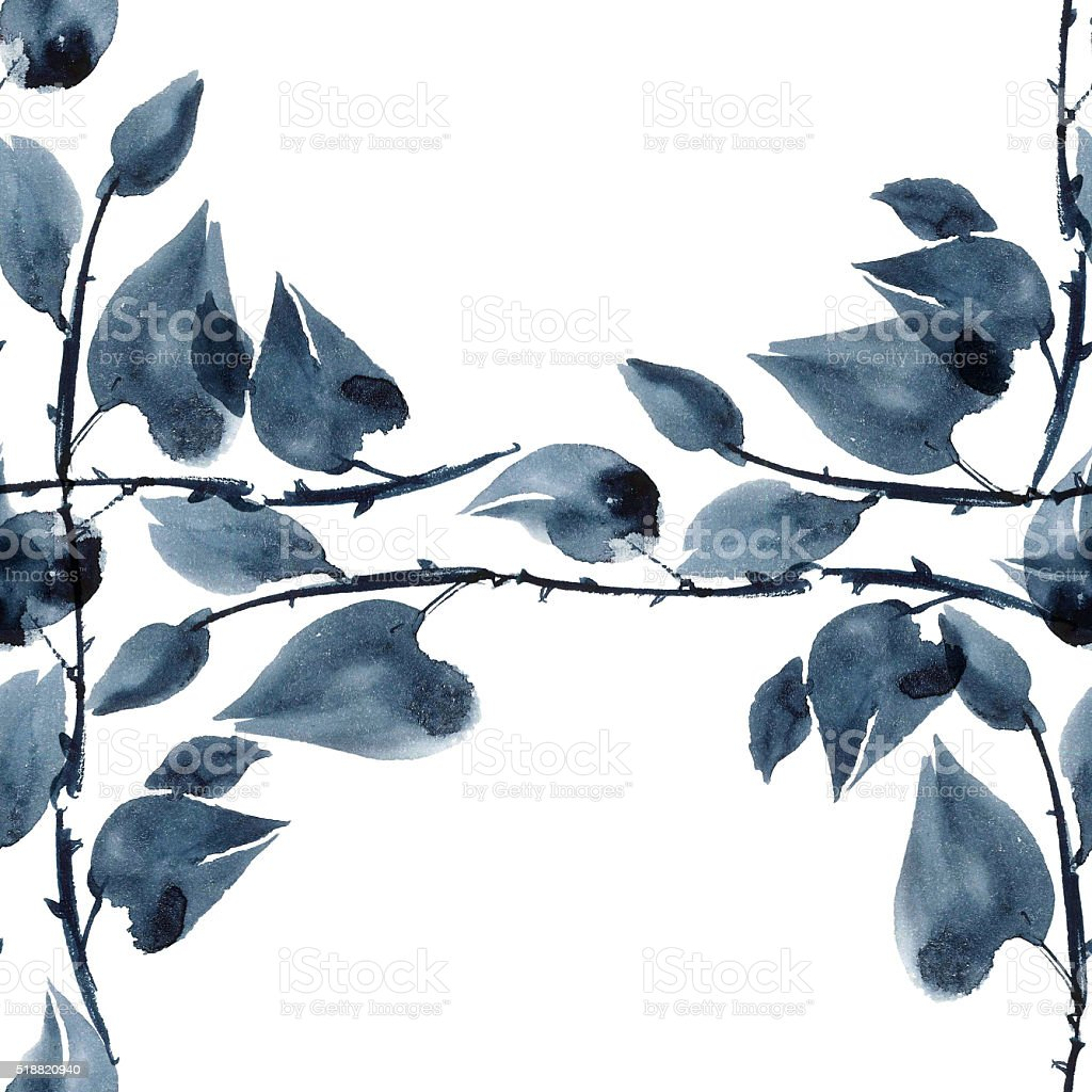 Plant leaves pattern vector art illustration
