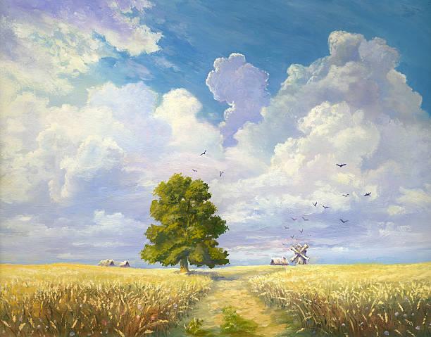 ilustraciones, imágenes clip art, dibujos animados e iconos de stock de planta de trigo - straw field