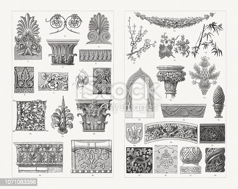 Plant ornaments: 1) Greek palmette with arum (Temple of Artemis & Poseidon, Eleusis); 2) Arum (Pompeii); 3) Acanthus with palm leaves (Tower of the Winds, Athens); 4) Simple greek palmette; 5) Assyrian lotus frieze; 6) Arum (Arabian); 7) Acanthus (Renaissance); 8) Arum (medieval); 9) Acanthus (Romanesque); 10) Initial with arum motiv by Israhel van Meckenem; 11) Arum (Renaissance); 12) Acanthus, celery-like (from the Temple of the Sun, Rome by emperor Aurelian); 13) Acanthus, thistle-like (Golden Gate, Jerusalem); 14) Arum (Temple of Apollo at Didyma, Miletus); 15) Fruit garlands (Renaissance); 16) Apple blossoms (Japanese); 17) Fruits and conifer twig (Chinese); 18) Bamboo (Japanese); 19) Branch tracery (Gothic style); 20) Embellishment (Gothic style); 21) Thistle motif on medieval brocade; 22) Tendril with fruits (Romanesque); 23) Roman pinecone; 24) Coat of arms with lily motif; 25) Wine leaves (Gothic style); 26) Medieval lily motif; 27) Thistle leaves (Gothic style); 28) Pomegranate pattern; 29) Leaf ornament (Arabian); 30) Arabesques of a Moorish column. Wood engravings, published in 1897.