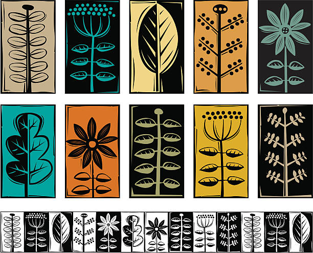 Plant symbols A selection of plant imagery with a woodcut feel. linocut stock illustrations