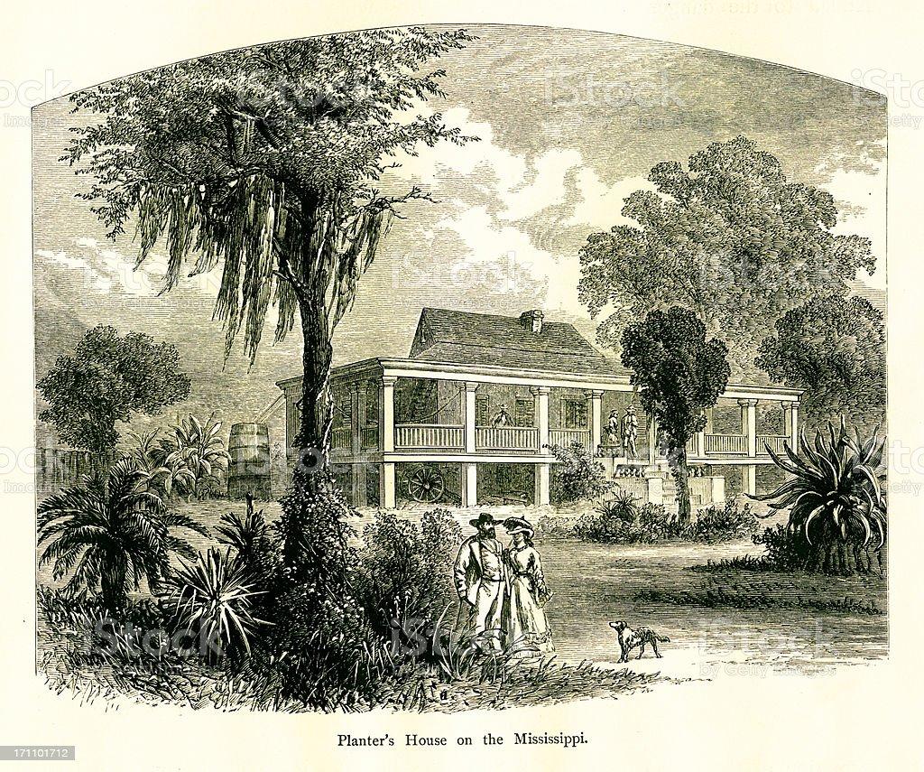 Planter's House on Mississippi River, USA   Historic American Illustrations vector art illustration
