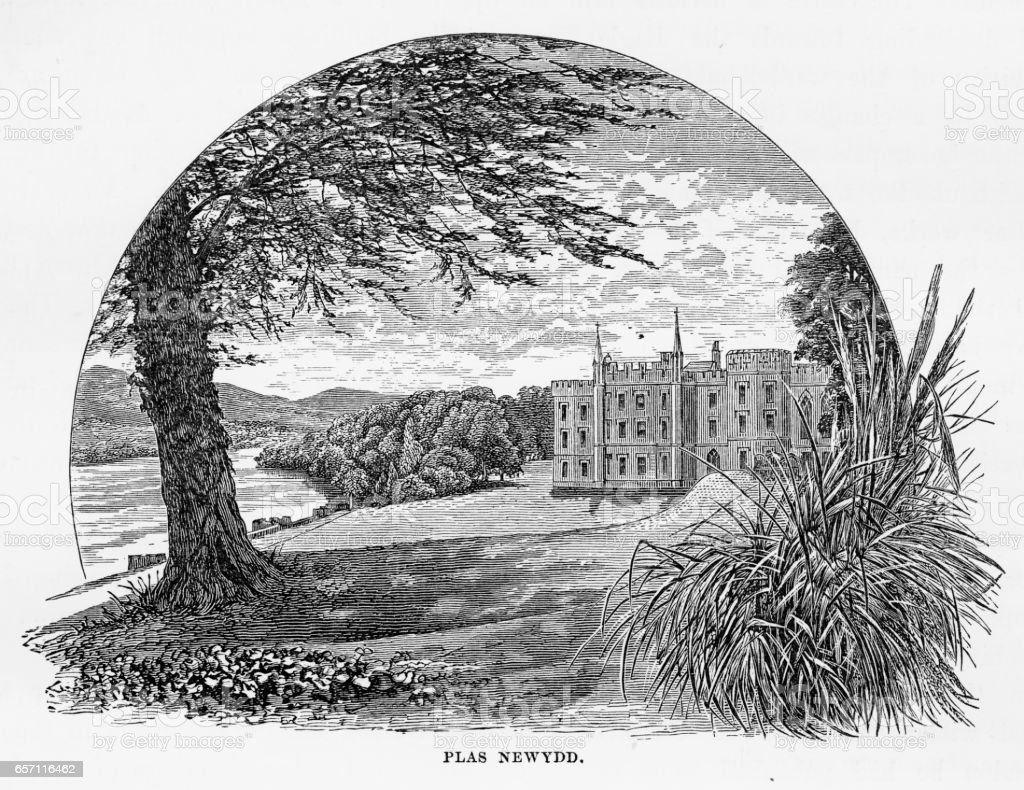 Plas Newydd Country House in Anglesey, Wales Victorian Engraving, 1840 vector art illustration