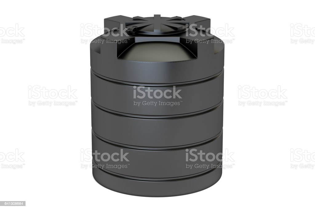 plastic black water tank closeup, 3D rendering isolated on white background vector art illustration