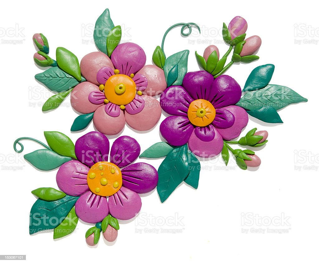Plasticine flowers royalty-free stock vector art