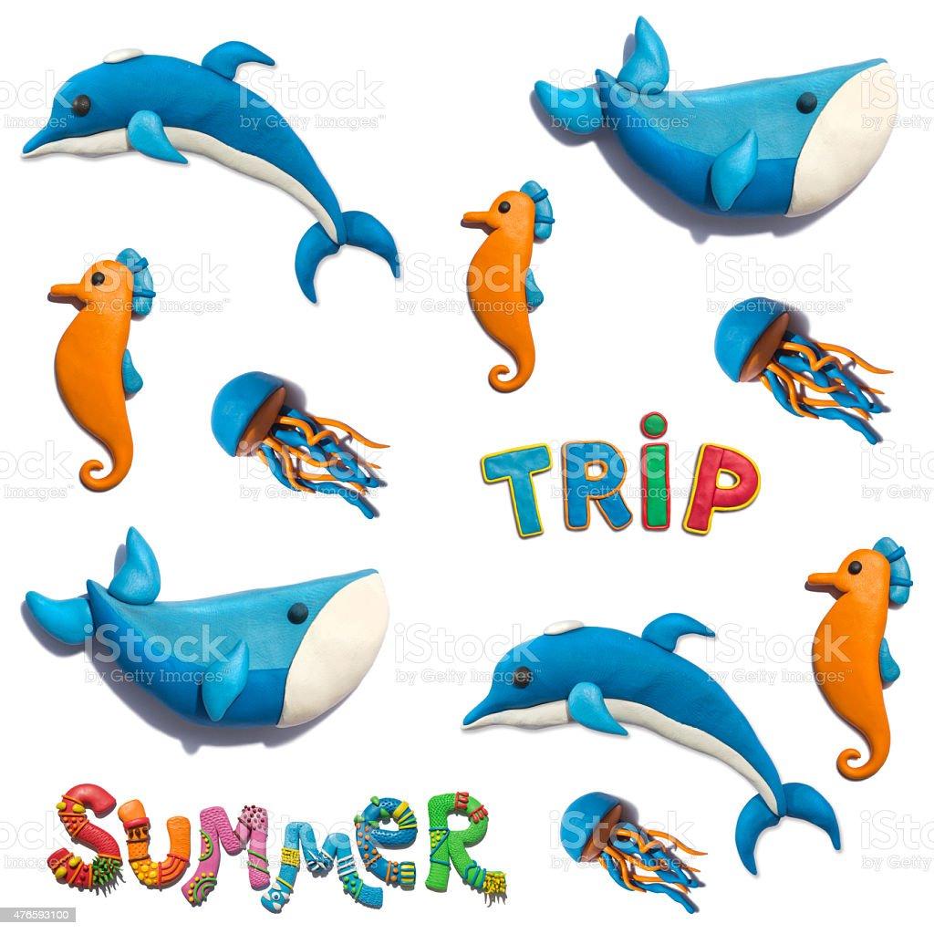 Plasticine handmade summer trip seamless pattern. vector art illustration