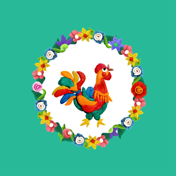 plasticine rooster portrait with floral frame vector art illustration