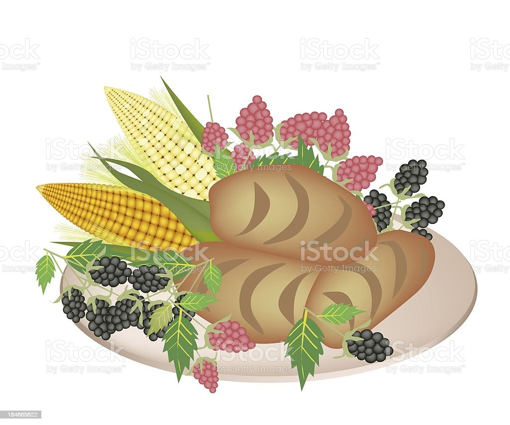 Plate of Cornbread with Berry Fruit and Sweet Corn vector art illustration