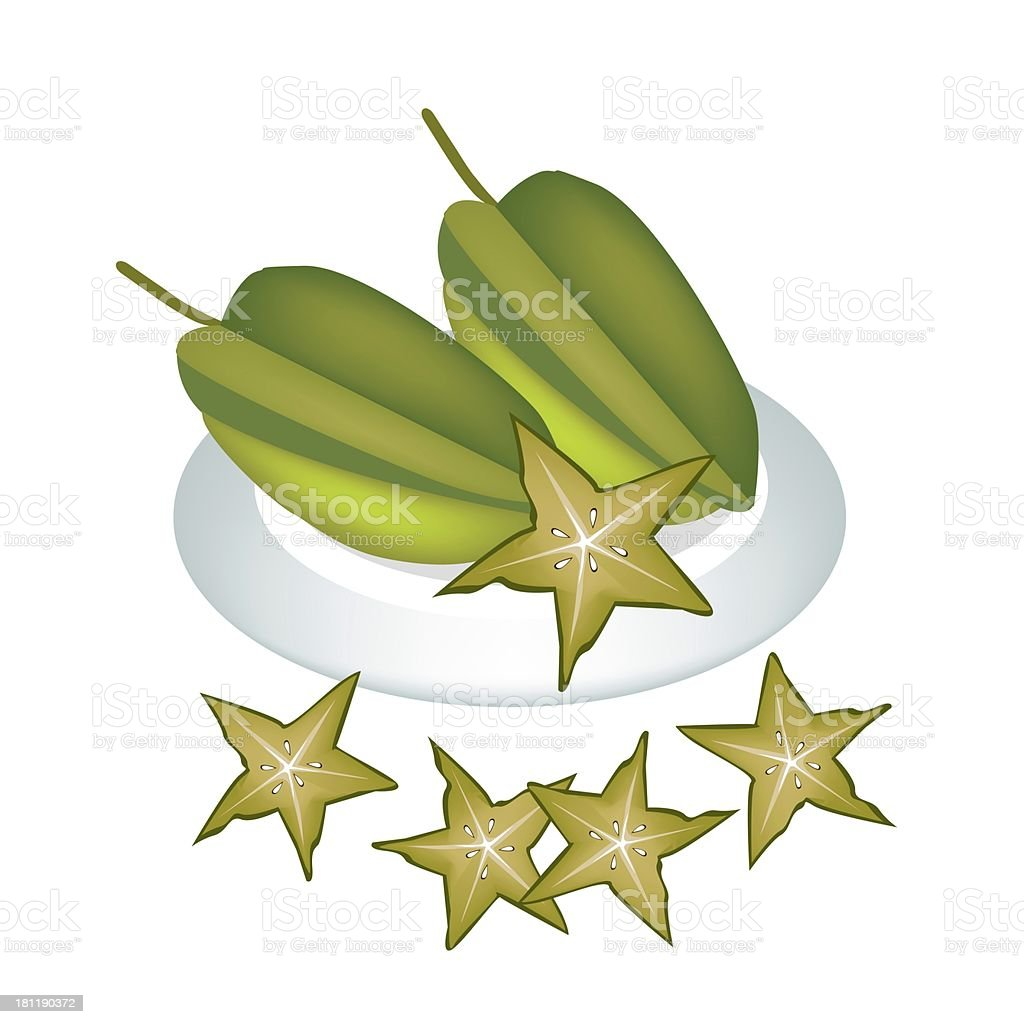 Plate of Delicious Fresh Green Carambolas royalty-free stock vector art