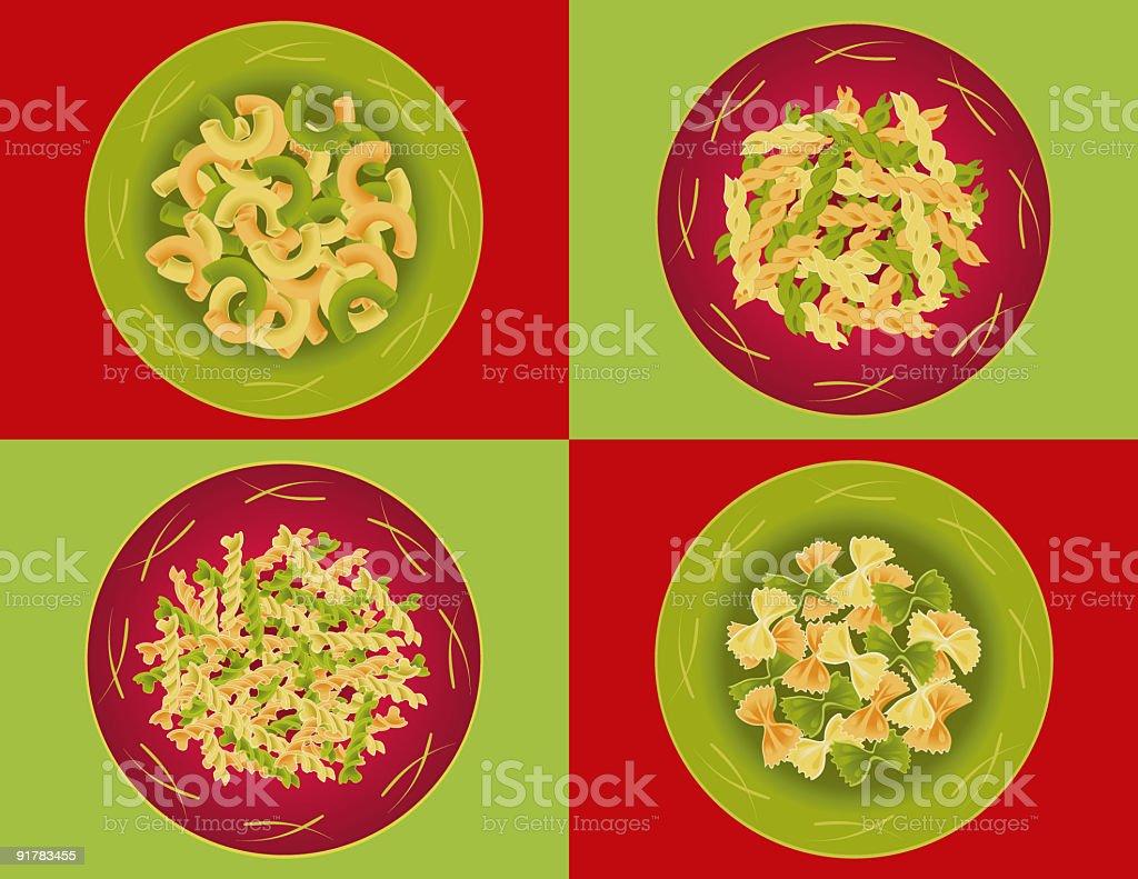 Plate of pasta / Plats de pâtes royalty-free plate of pasta plats de pâtes stock vector art & more images of bow tie pasta