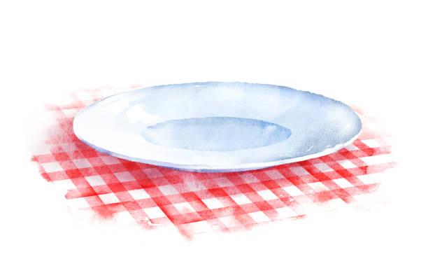 bildbanksillustrationer, clip art samt tecknat material och ikoner med plattan på rutig bordsduk. - empty plate
