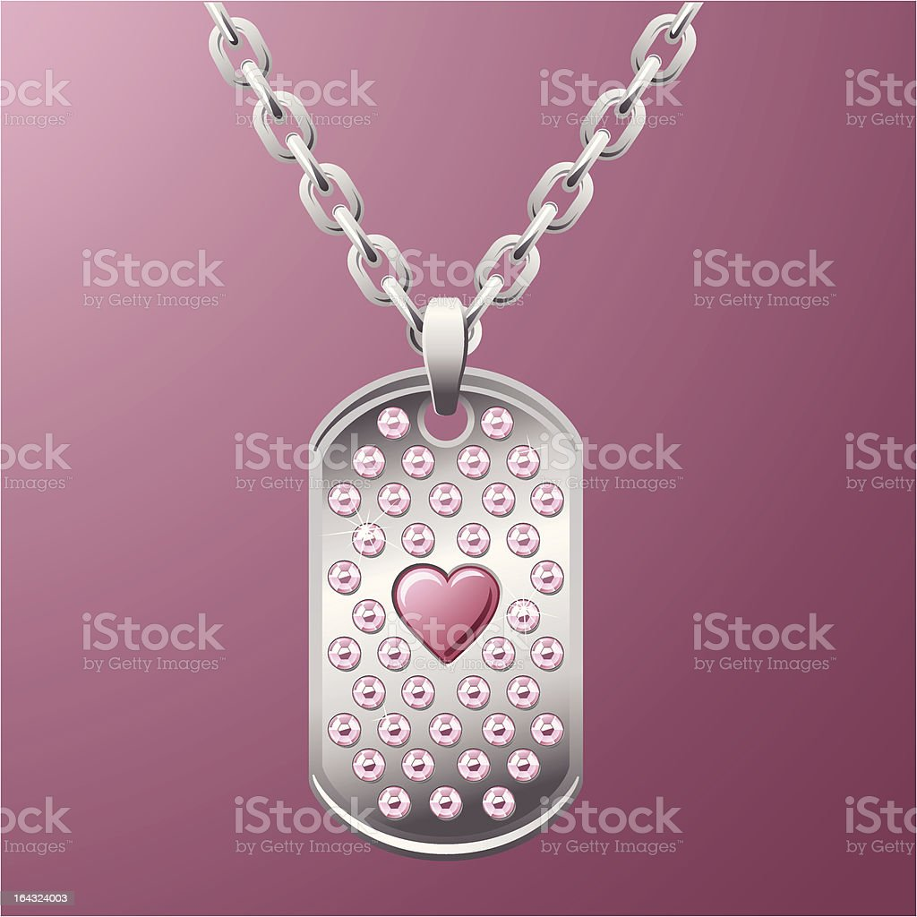 Platinum Dog Tag with Pink Rhinestones and a Heart royalty-free stock vector art