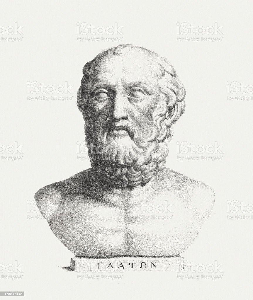 Plato (428/427 BC - 348/347 BC), lithograph, published c. 1830 vector art illustration