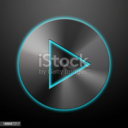 istock Play button silver icon 186667217