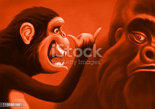 digital painting / raster illustration of playful chimpanzee meeting gorilla
