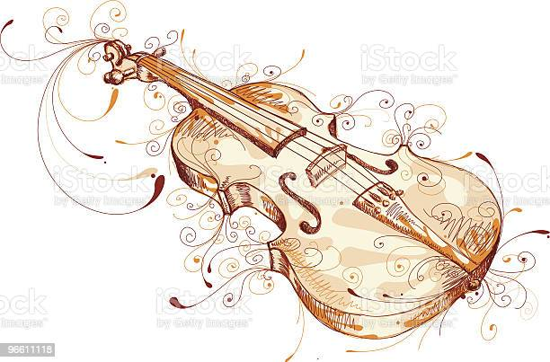 Playful Violin-vektorgrafik och fler bilder på Brun - Beskrivande färg